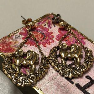 Brass filigree dangle Unicorn earrings